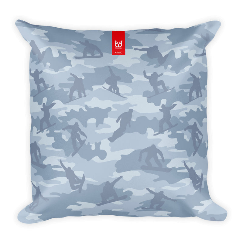 Camo Pillow | Snowboard Camo In Light Grays - Front view