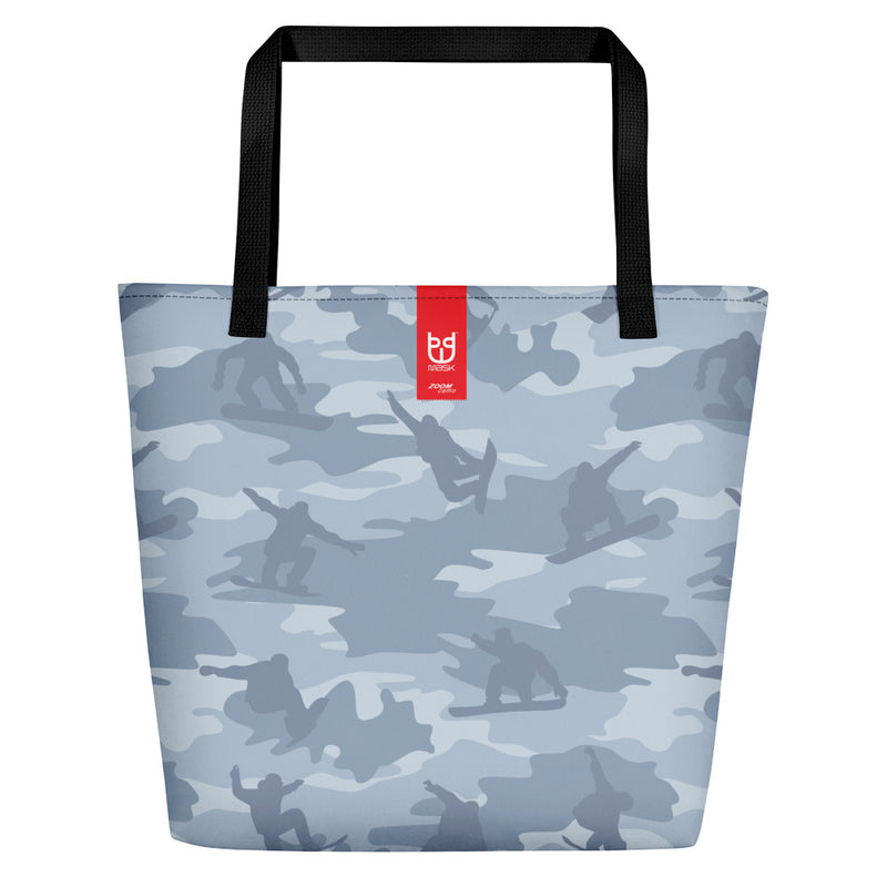 Large Tote | Snowboard Camo | In Light Grays.  Branding shown.