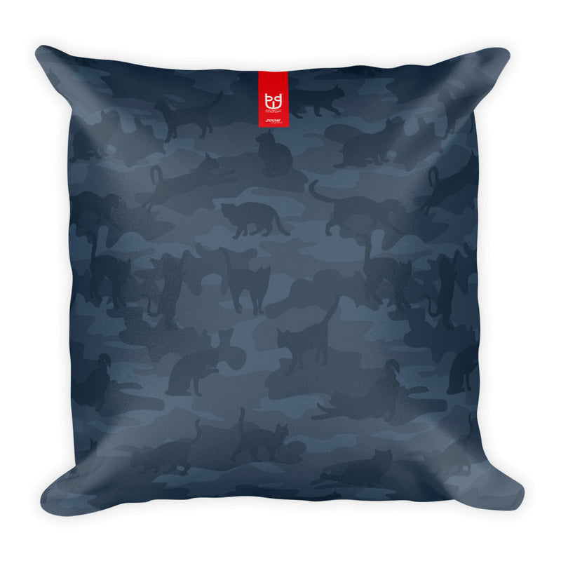 Camo Pillow | Cats | In Dark Grays - Front view