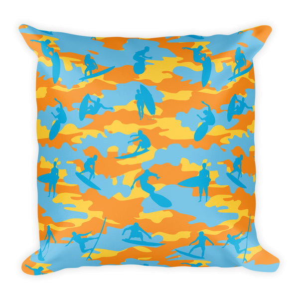 Camo Pillow | Surf 1 | In Yellow, Orange, and Aqua - Mask Brand Camo Design Clothing, Bags and Accessories