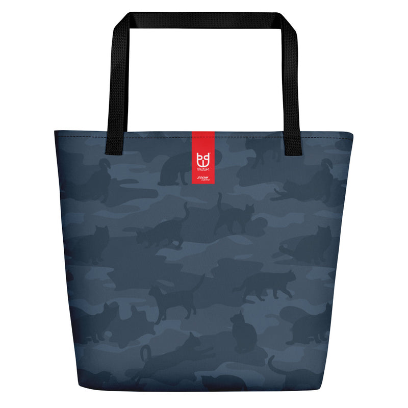 Large Tote | Cats Camo | In Dark Grays. Branding shown.