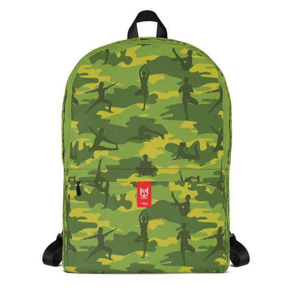 Camo Yoga Backpack in greens, front view.