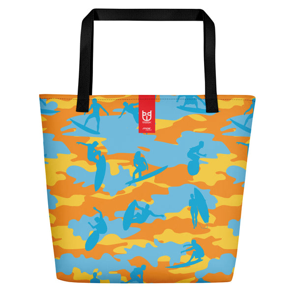 Large Tote | Surf Camo | In Yellow, Orange, and Aquas.   Branding shown.