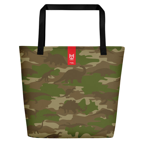 Large Tote | Dinosaurs Camo | In Browns and Green. Branding shown.