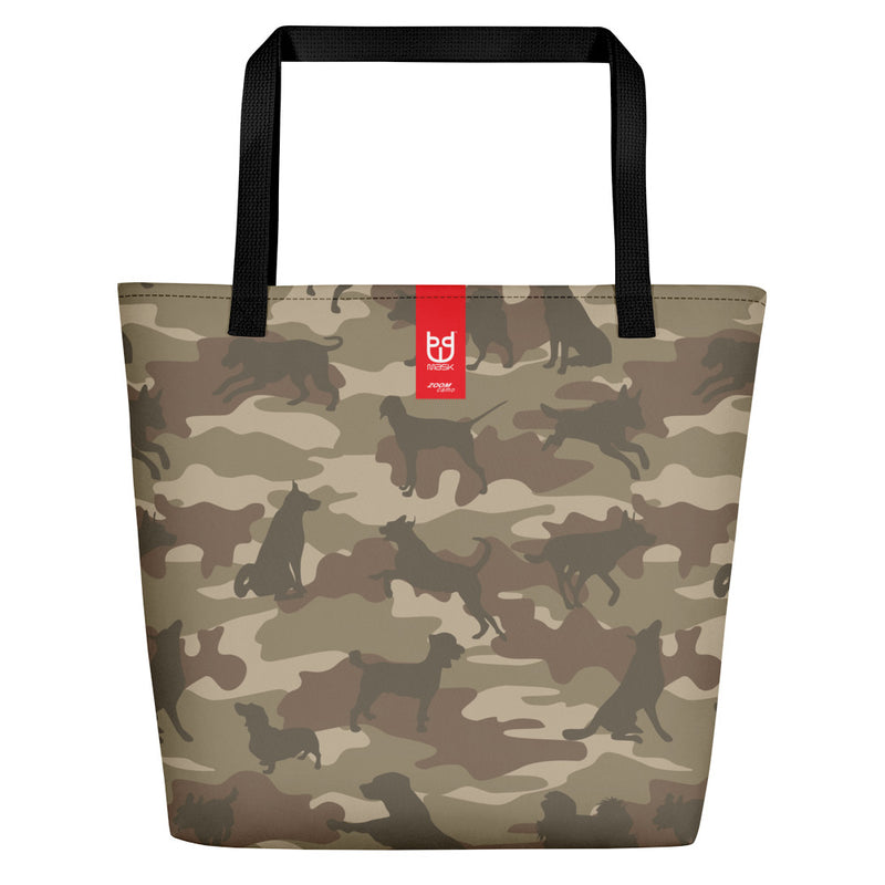 Large Tote | Dogs Camo | In Browns. Branding shown.