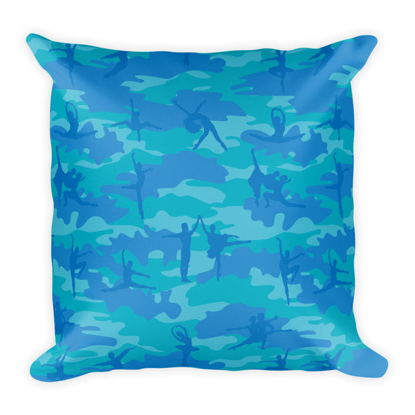 Camo Pillow | Ballet | In Blues and Aquas - Back view
