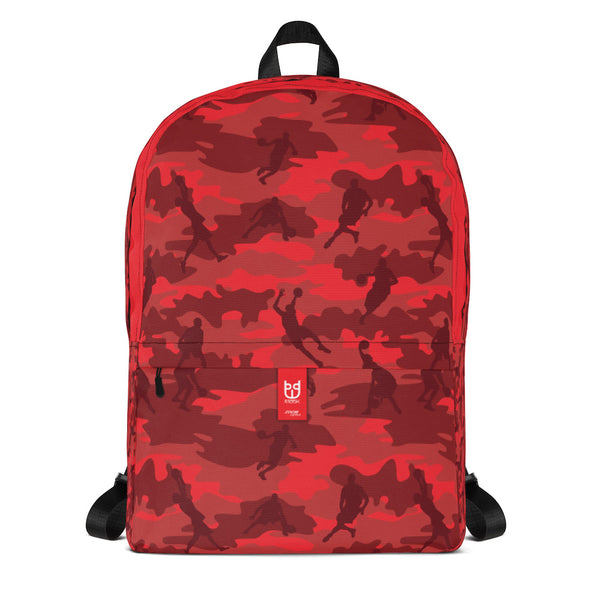 Camo Backpack | Basketball | In Reds. Front view.