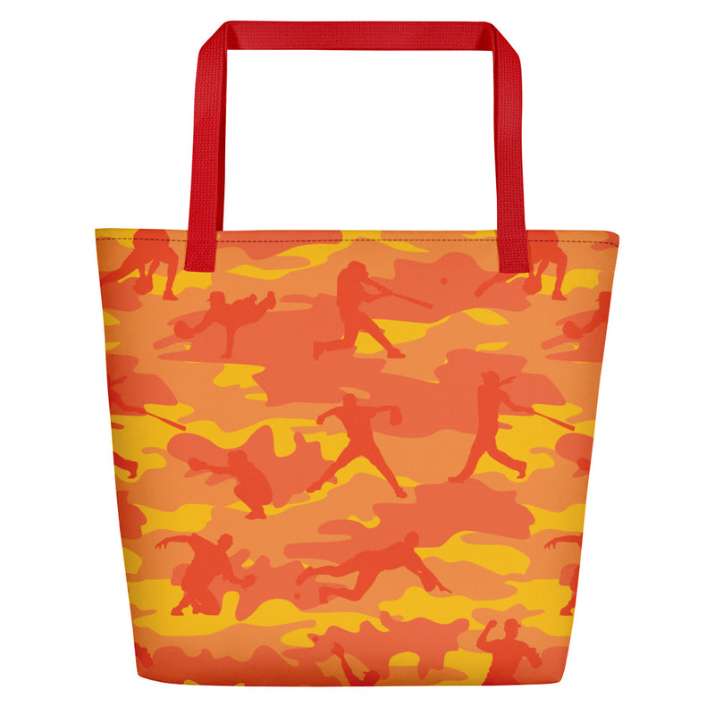 Large Tote | Baseball Camo | In Orange