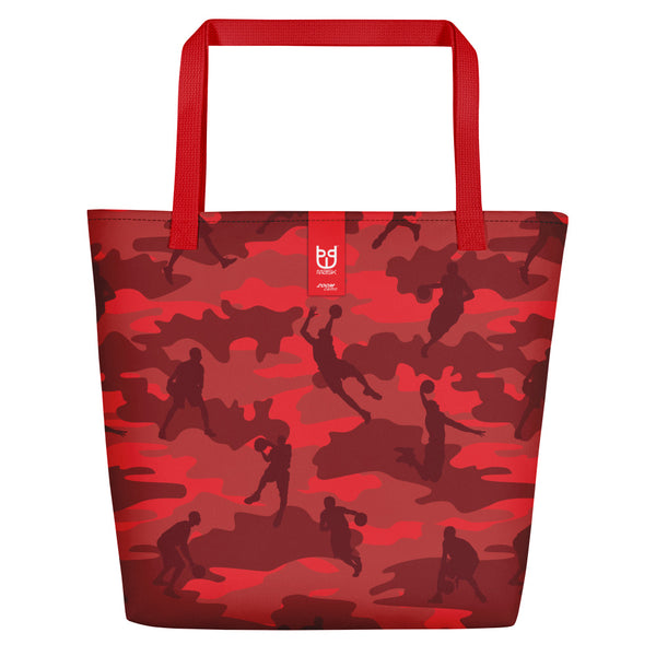 Camo Large Tote | Basketball 1 | In Reds - Mask Brand Camo Design Clothing, Bags and Accessories