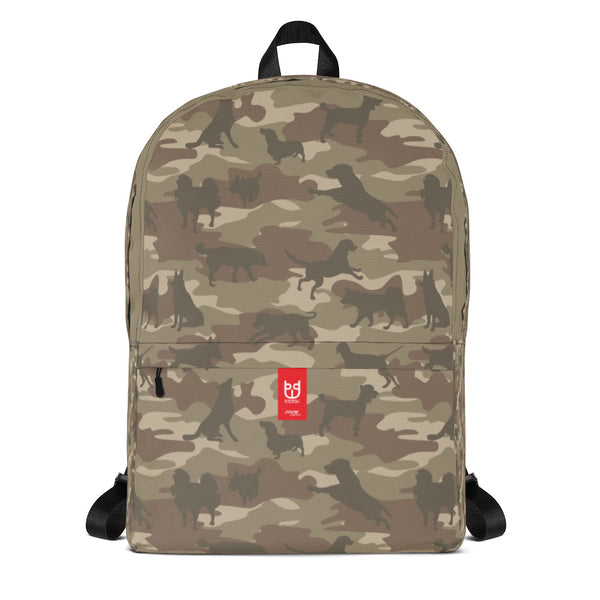 Camo Backpack | Dogs | In Browns. Front view.