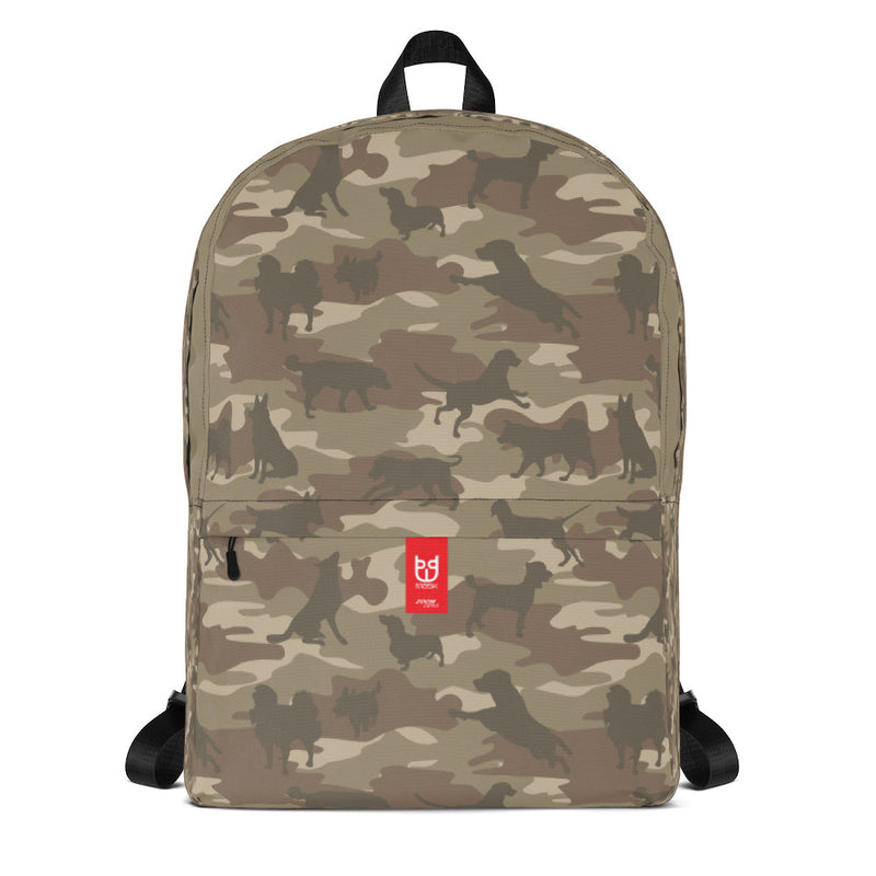Camo Dogs Backpack In Browns. Facing side.
