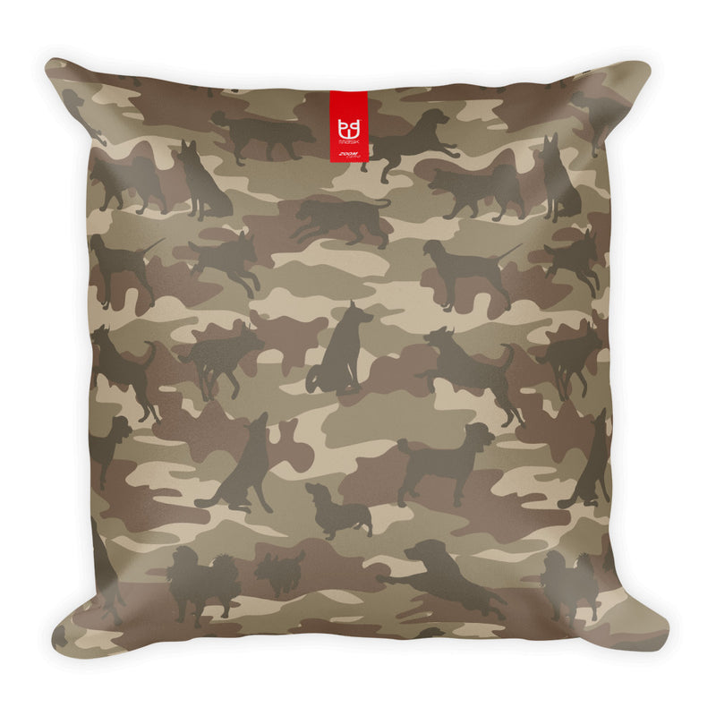 Camo Pillow | Dogs In Browns - Front view