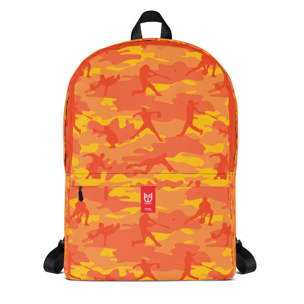 Camo Backpack | Baseball | In Orange. Front view.