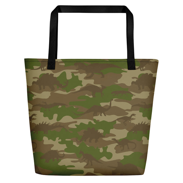 Large Tote | Dinosaurs Camo | In Browns and Green.