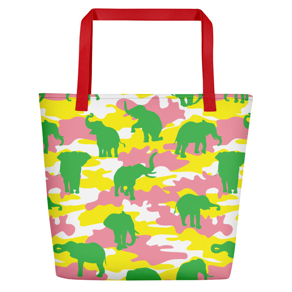 Large Tote | Elephants Camo | In Yellow, Pink, and Green.