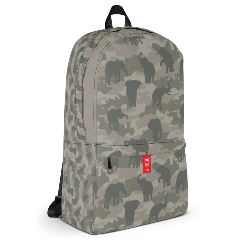 Camo Elephants Backpack In Grays. 3/4 view.