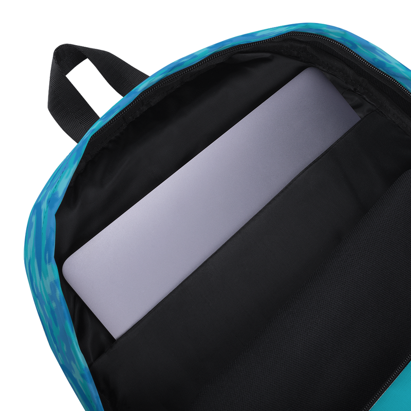 Camo Backpack | Ocean | In Blues and Aquas. Inner, padded laptop sleeve.
