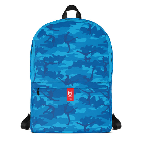 Camo Backpack | Gymnastics | In Blues. Front view.