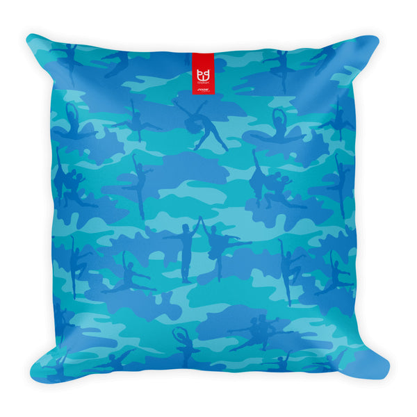 Camo Pillow | Ballet | In Blues and Aquas - Front view