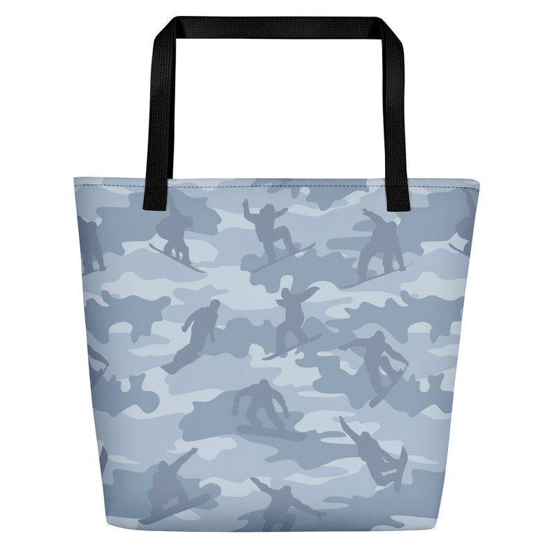 Large Tote | Snowboard Camo | In Light Grays.