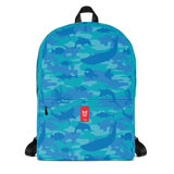 Camo Backpack | Ocean | In Blues and Aquas. Front view.