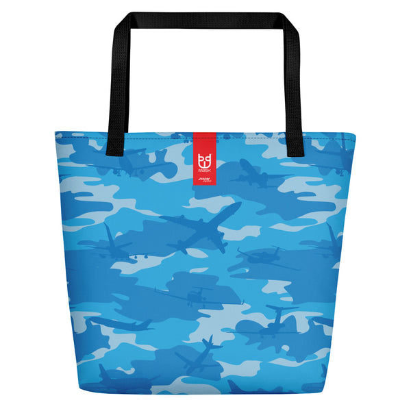 Large Tote | Planes Camo | In Blues. Branding shown.