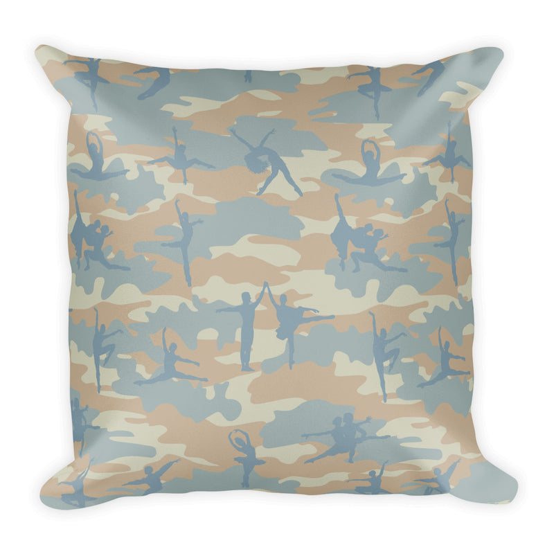 Camo Pillow | Ballet | In Beige, Peach, and Pale Blue - Back view