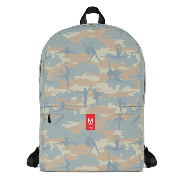 Camo Backpack | Ballet | In Beige, Peach, and Pale Blue. Front view.