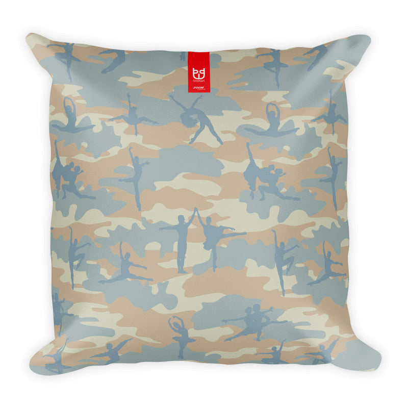 Camo Pillow | Ballet | In Beige, Peach, and Pale Blue - Front view