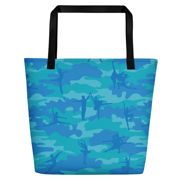 Large Tote | Ballet Camo | In Blue and Aqua  back side