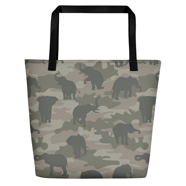 Large Tote | Elephants Camo | In Grays.