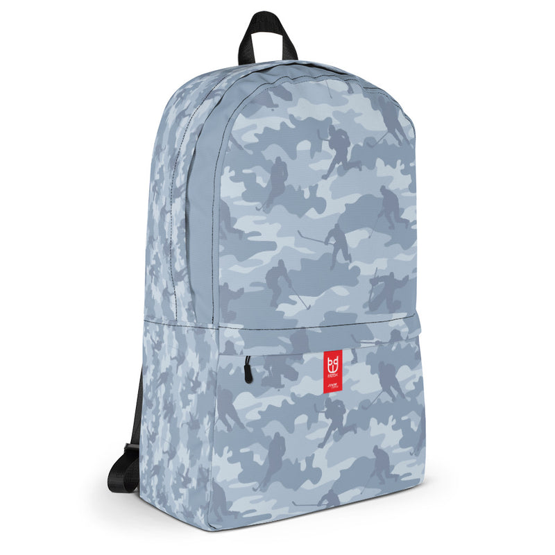 Camo Backpack | Hockey | In Light Grays. 3/4 view.