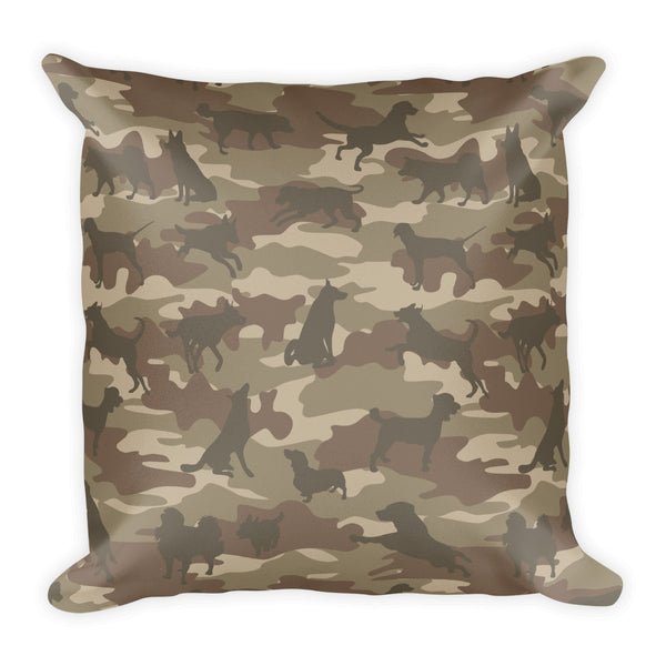 Camo Pillow | Dogs 1 | In Browns - Mask Brand Camo Design Clothing, Bags and Accessories