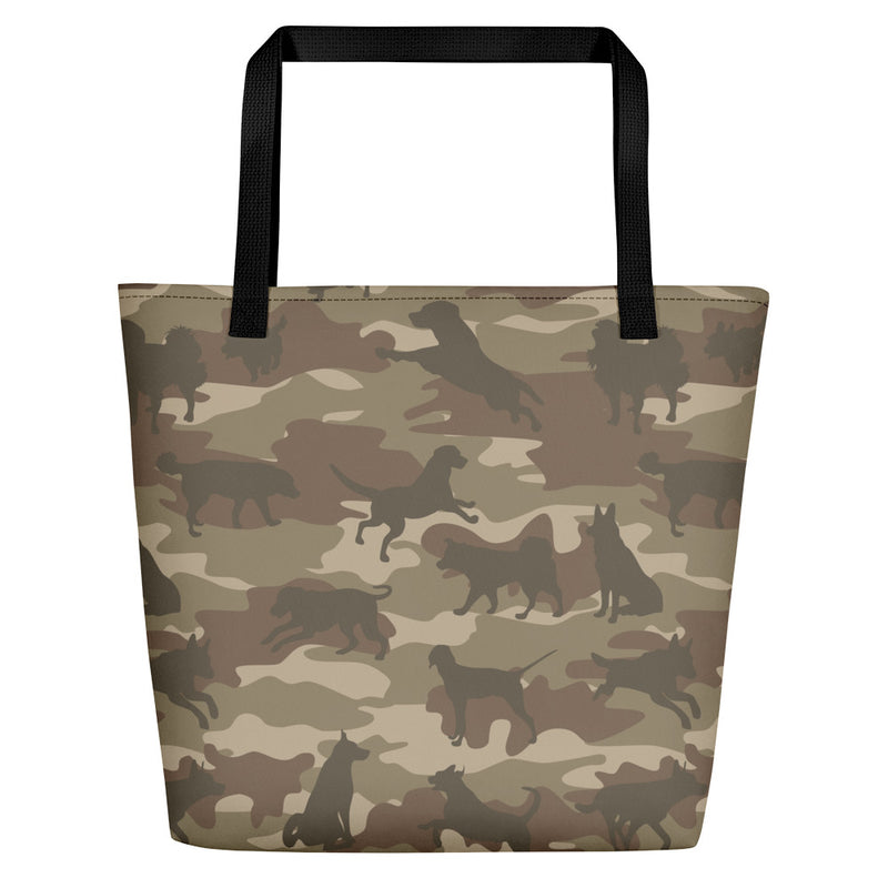 Large Tote | Dogs Camo | In Browns.