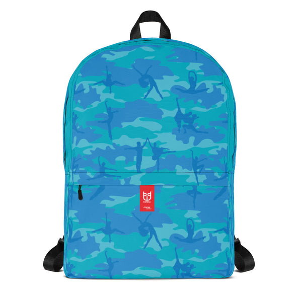 Camo Backpack | Ballet | In Blues and Aquas. Front view.