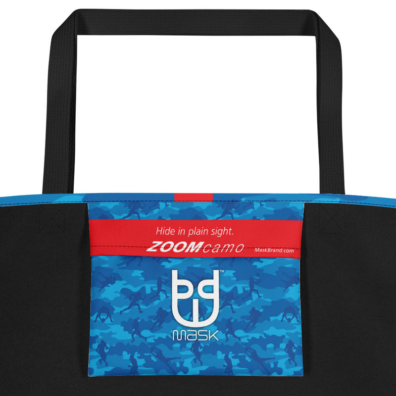 Camo Large Tote | Football 1 | In Blues - Mask Brand Camo Design Clothing, Bags and Accessories