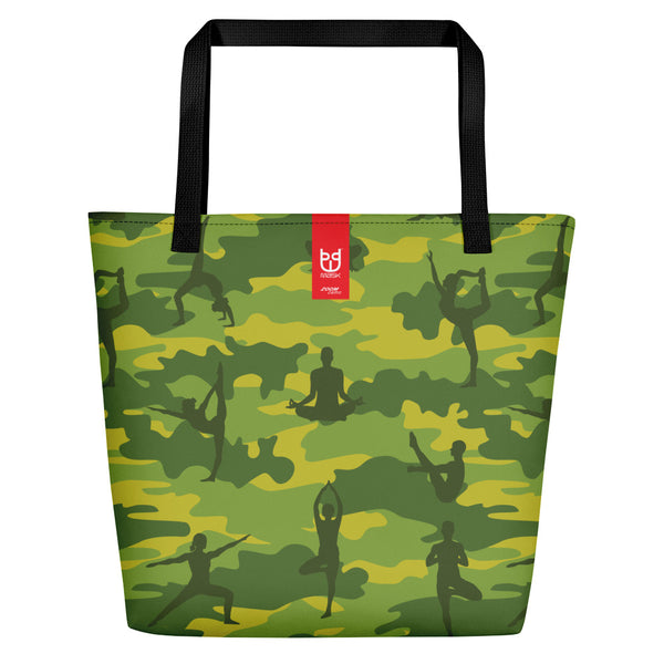 Large Tote | Yoga Camo | In Tropical Greens  Branding shown.