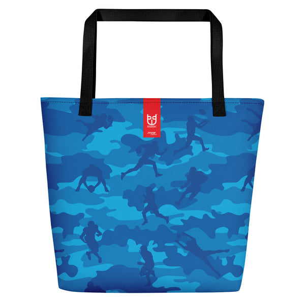 Large Tote | Football Camo | In Blues. Branding shown.