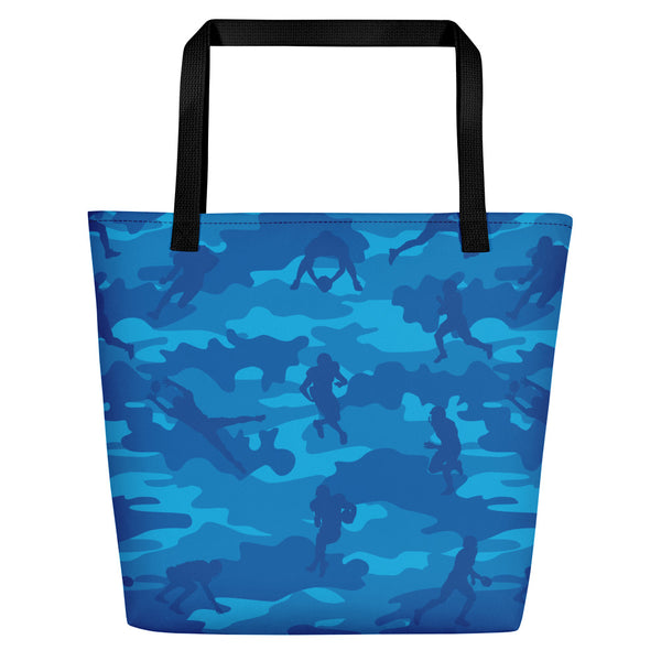 Large Tote | Football  Camo | In Blues.