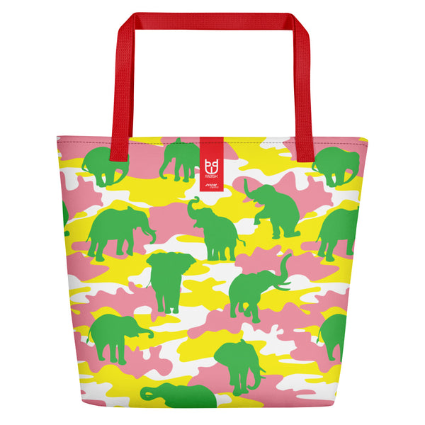 Large Tote | Elephants Camo | In Yellow, Pink, and Green. Branding shown.