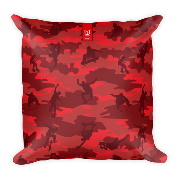 Camo Pillow | Skateboard 1 | In Reds - Mask Brand Camo Design Clothing, Bags and Accessories