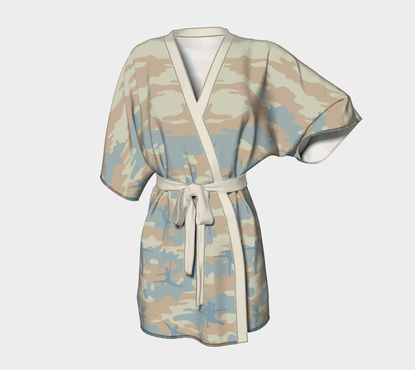 Kimono Robe | Ballet 1 | Beige, Peach, and Pale Blue - Mask Brand Camo Camouflage Design Clothing, Bags and Accessories