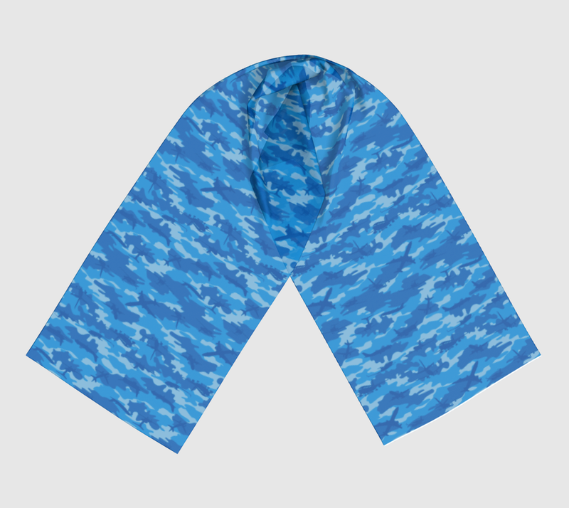 Planes Camo Scarf long. In blues.