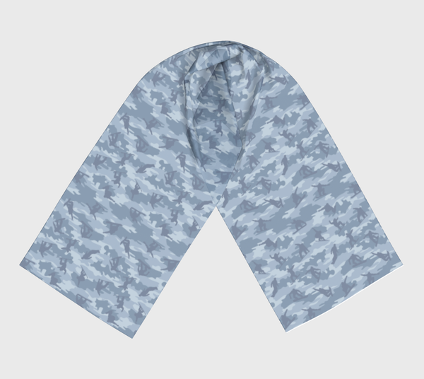 Long Snowboard Scarf, grays, in two sizes.