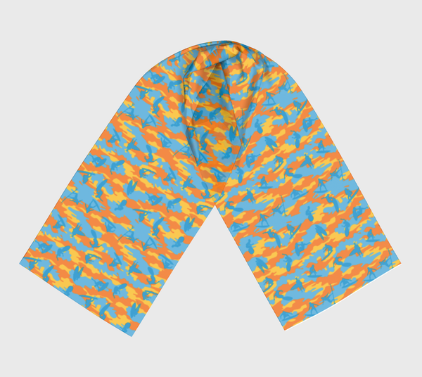 Long Surf Scarf, yellow, orange, aqua, in two sizes.