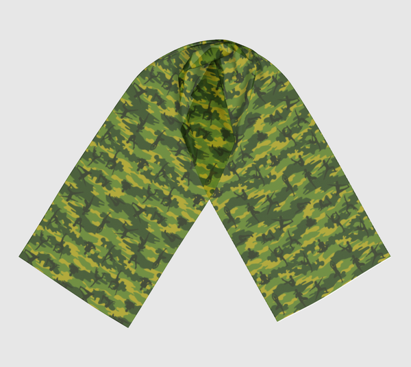 Long Yoga Scarf, tropical greens,  in two sizes.