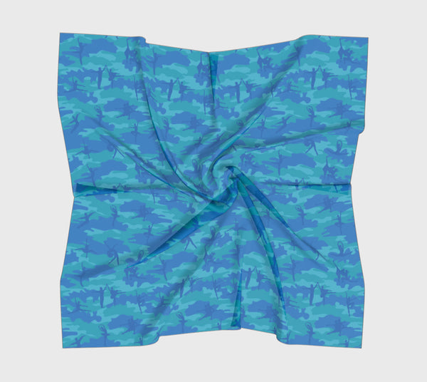 Ballet Camo Scarf | Square | In blues and aquas. Available in 3 sizes, and 3 fabrics.