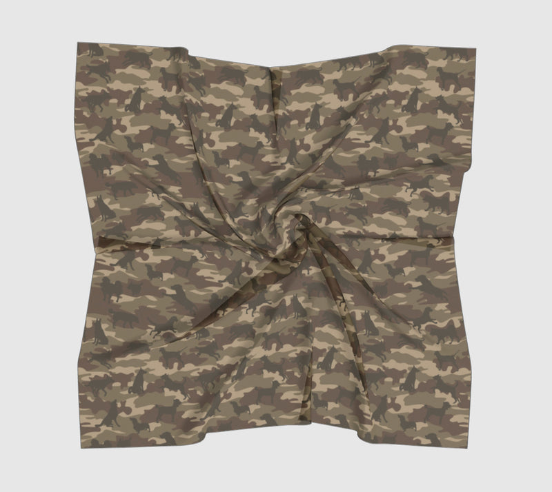 Dogs Camo Scarf | Square | In browns. Available in 3 sizes, and 3 fabrics.