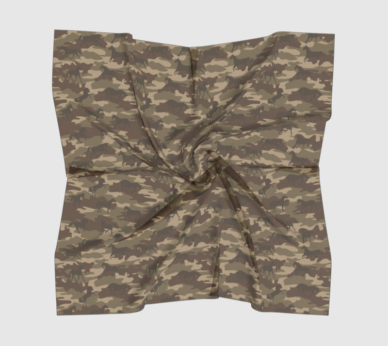 Camo Scarf Square | Horses | Browns - Mask Brand Camo Camouflage Design Clothing, Bags and Accessories