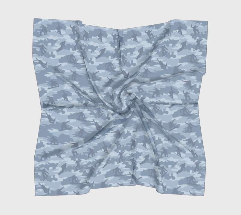 Snowboard Camo Scarf | Square | In light grays. Available in three different fabrics.